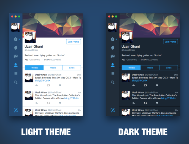 Light theme dark theme twitter mac
