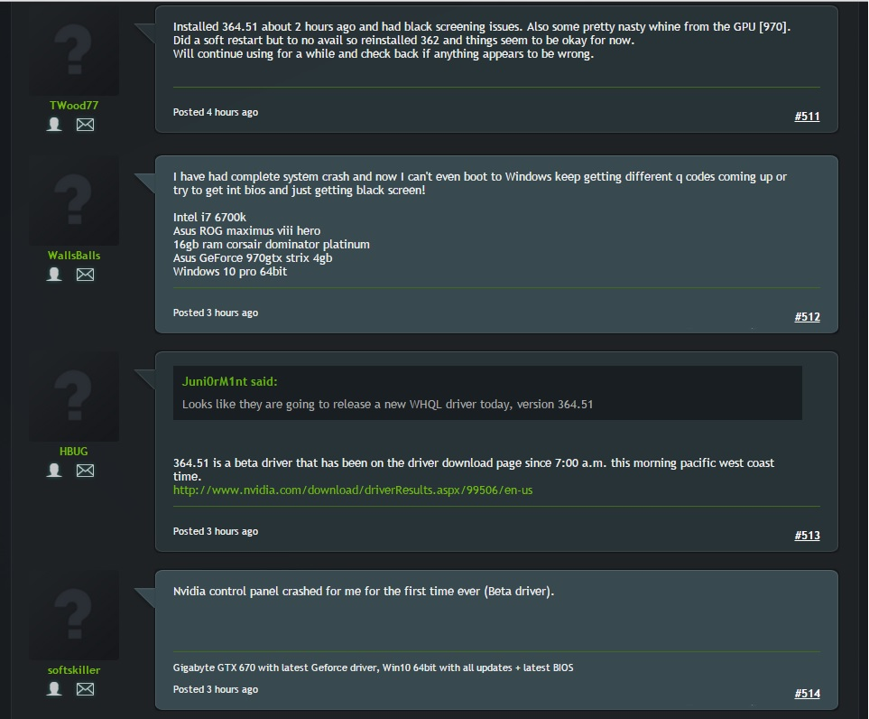 Nvidia users reporting 364.51 driver issues geforce forums