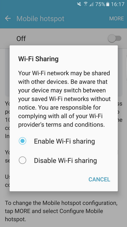 enable galaxy s7 wifi sharing