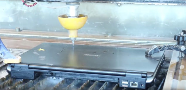 Laptop Is Sliced In Half By A Powerful Waterjet – Check Out The Video Here