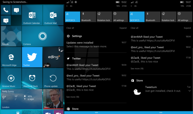 windows 10 mobile action center