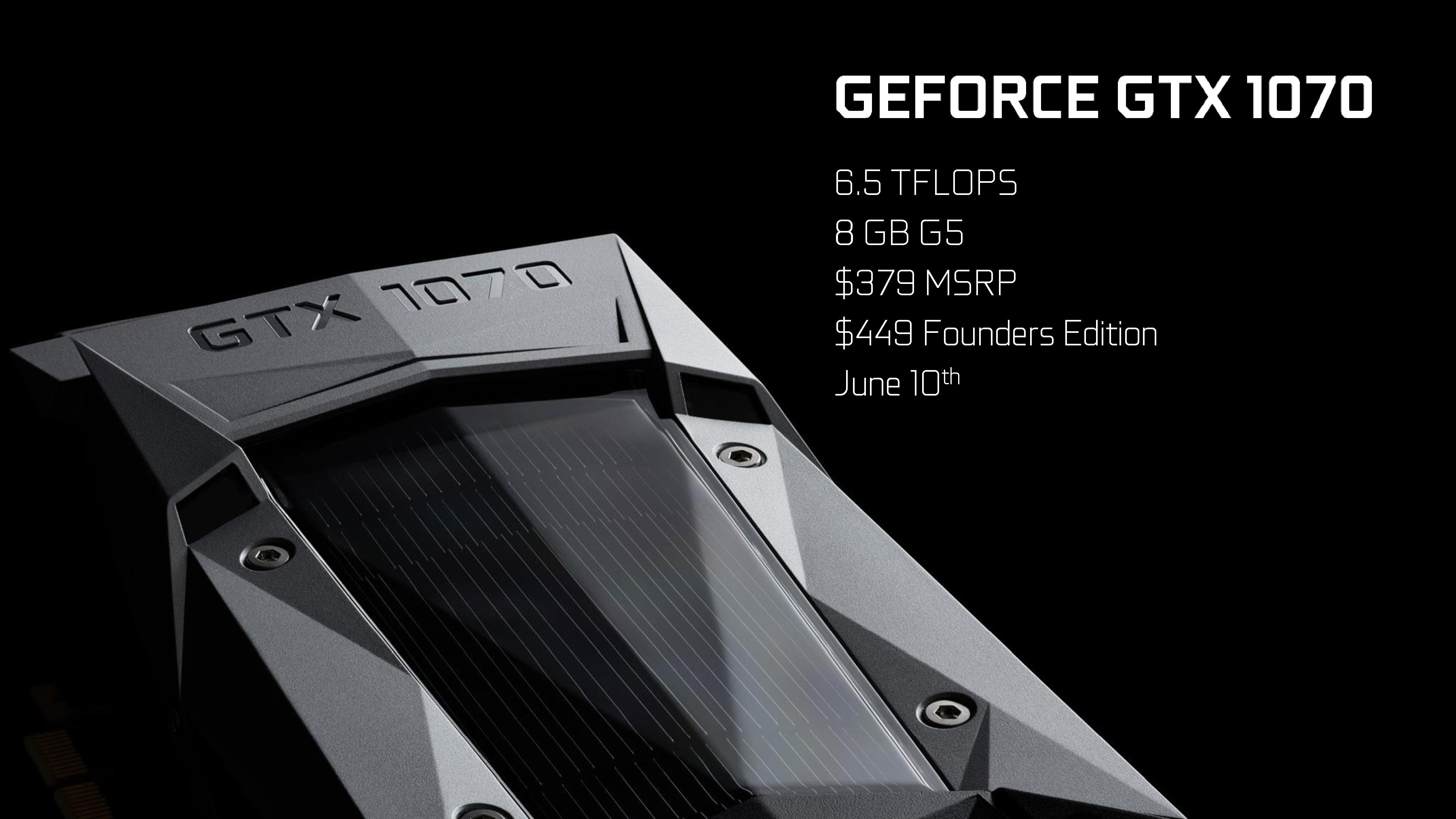 NVIDIA GeForce GTX 1070 Announced For $379 US - Faster Than