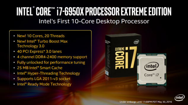 Intel Core i7-6950X Extreme Edition Processors