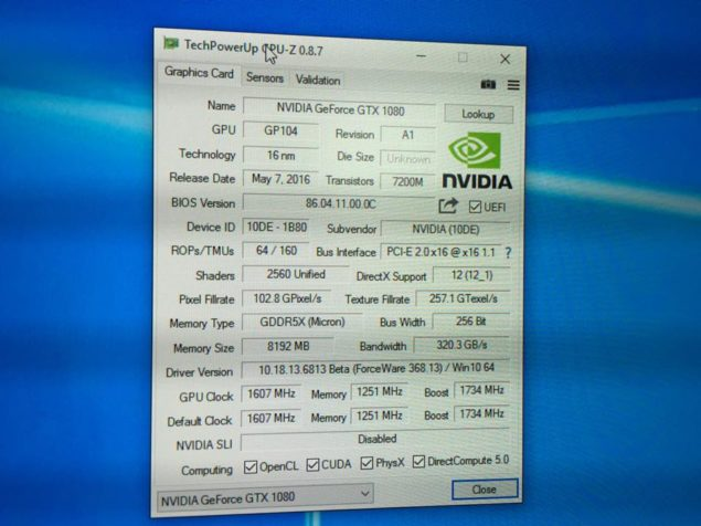 NVIDIA GeForce GTX 1080 GPUz