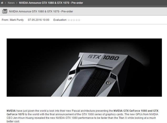 NVIDIA GeForce GTX 1080 Pre-Order