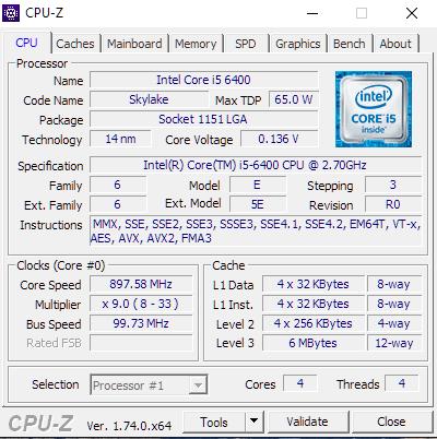 i5 6400 CPUZ