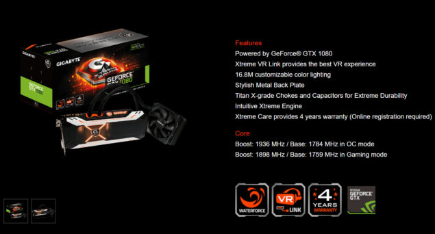 Gigabyte GeForce GTX 1080 Xtreme Gaming Water Cooling Graphics Card_7