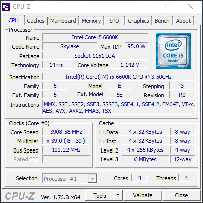 i5 6600k CPU-Z