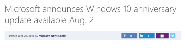 Windows 10 Anniversary Update release date