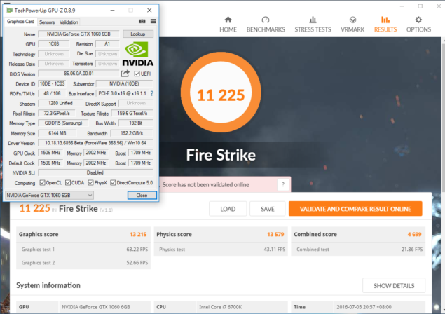 NVIDIA GeForce GTX 1060 6 GB 3DMark Firestrike Performance