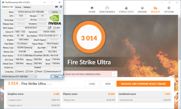 NVIDIA GeForce GTX 1060 6 GB 3DMark Firestrike Ultra