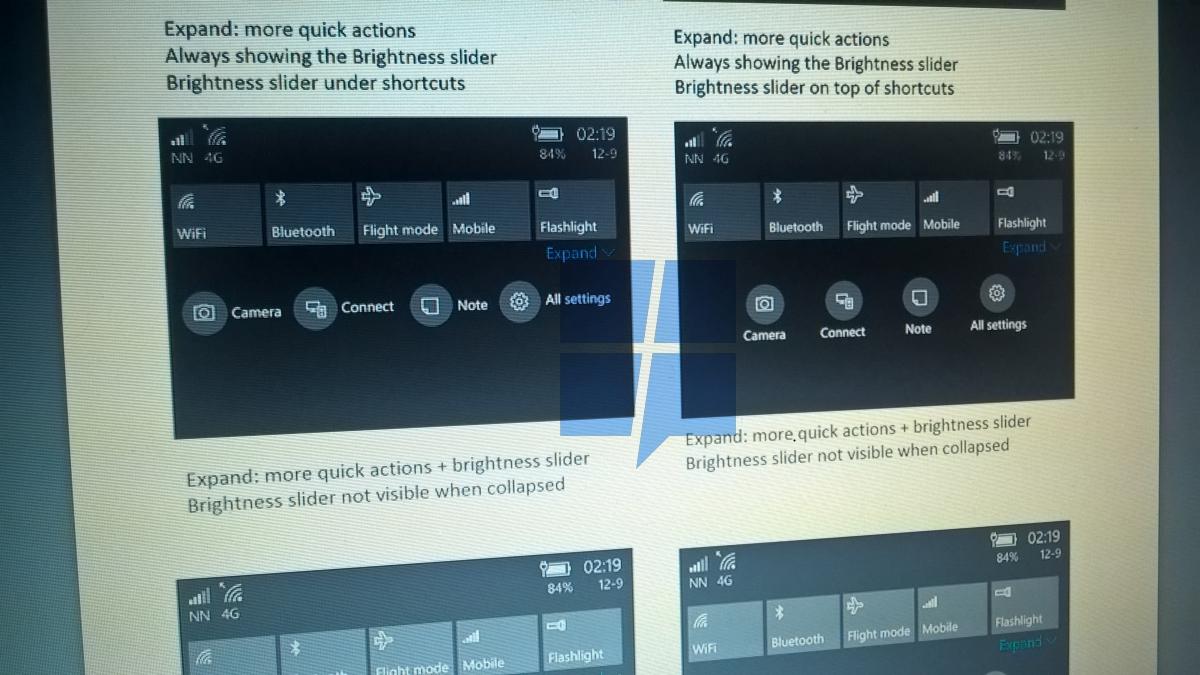 Windows 10 Mobile Redstone 2 Action Center