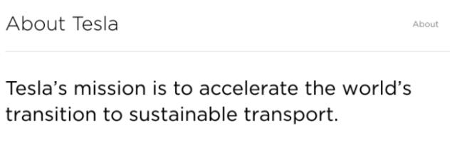 tesla mission statement