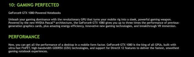 NVIDIA GeForce GTX 1080 Mobility Features