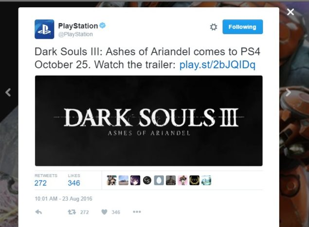Dark Souls 3 DLC October 25 Sony