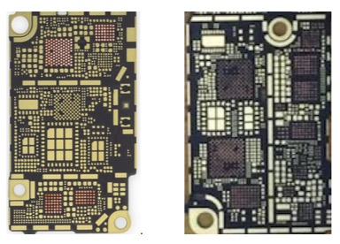 Rear side of iPhone 6s and iPhone 7 logic board