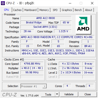 An overclock of 4.8 GHz is achieved on AM4 platform with the latest Bristol Ridge APU.