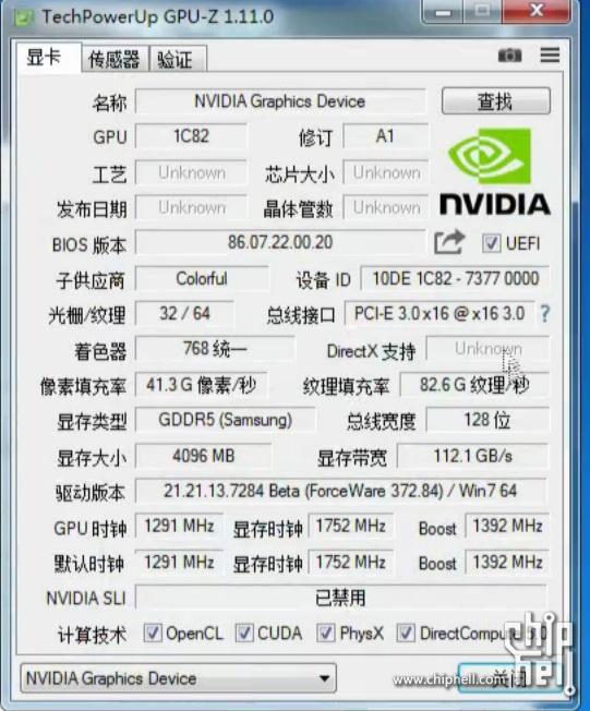 NVIDIA GeForce GTX 1050 Ti 3DMark 11 GPUz