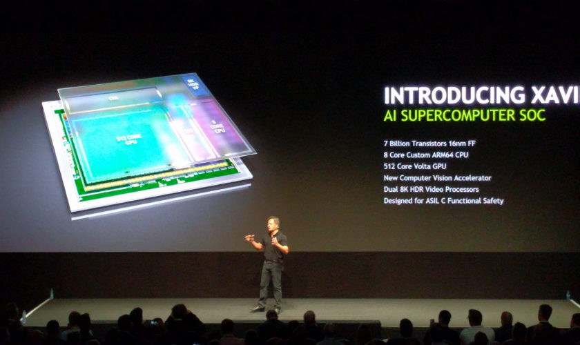 NVIDIA unveils the Xavier SOC, featuring Volta GPU and ARM64 CPU architecture. (Image Credits: Anandtech: http://www.anandtech.com/show/10713/gtc-europe-2016-nvidia-keynote-live-blog-with-ceo-jenhsun-huang)