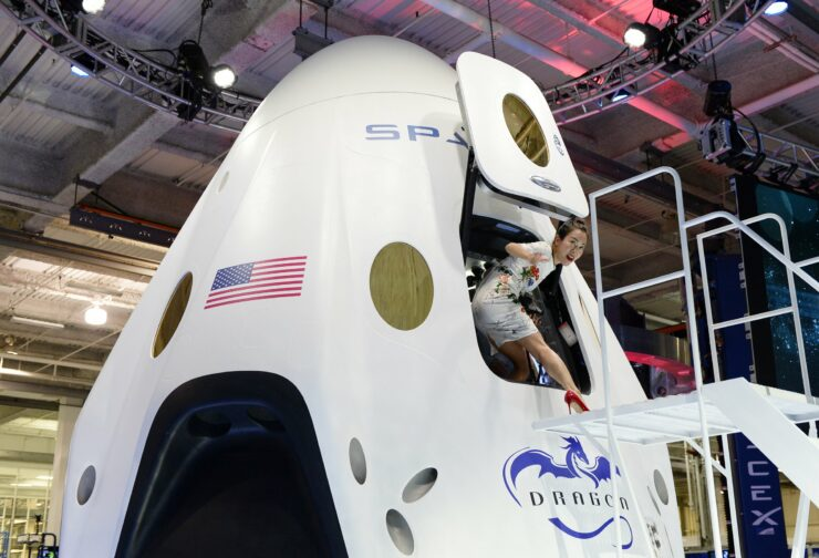 A model of SpaceX's Dragon Capsule; this will take astronauts into the International Space Station