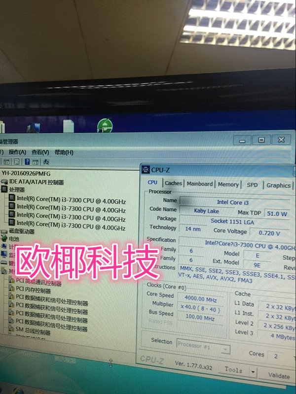 Intel Core i3-7300 CPUz