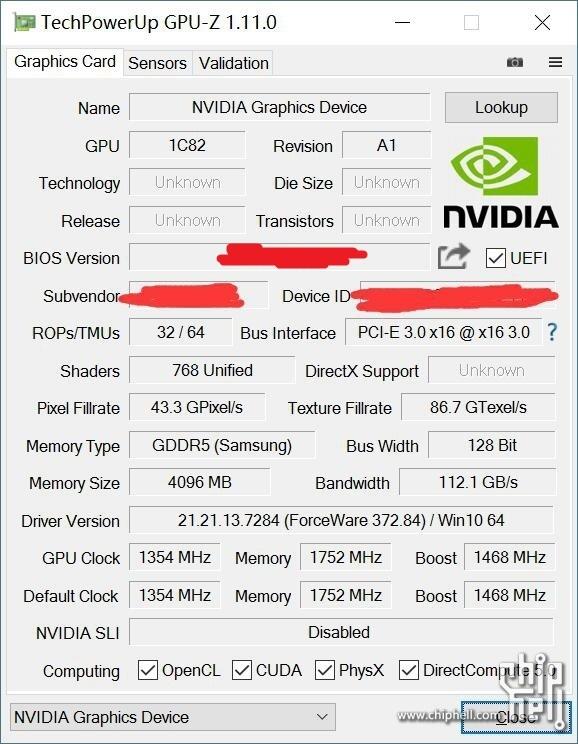 NVIDIA GeForce GTX 1050 Ti GPUz