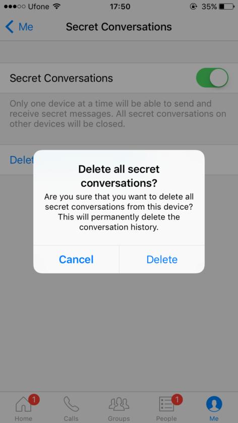 How to delete Facebook secret conversations