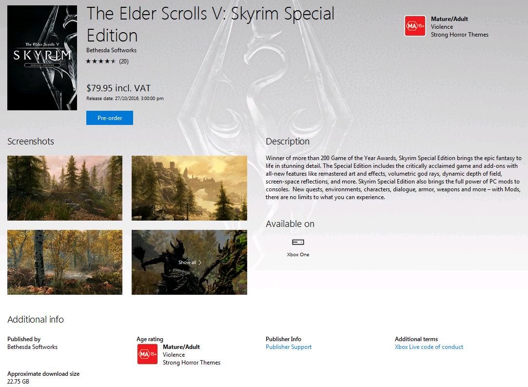 The Elder Scrolls V: Skyrim Special Edition Download Size
