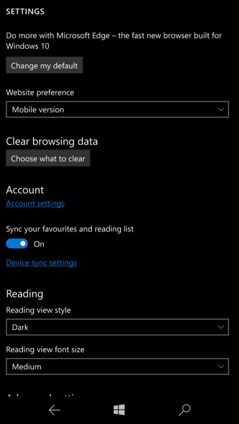 change default browser in Windows 10 Mobile
