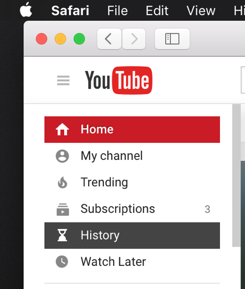 History Button YouTube web