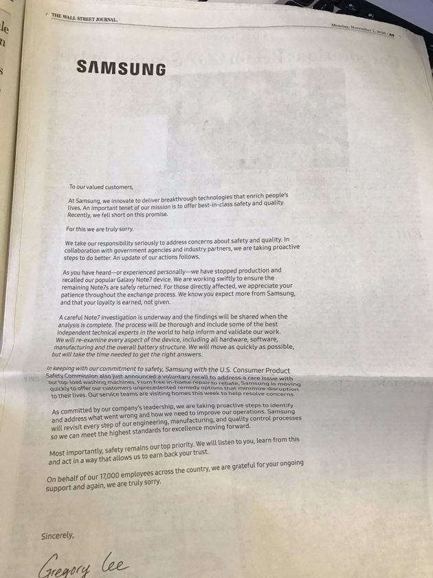 Note 7 apology ad