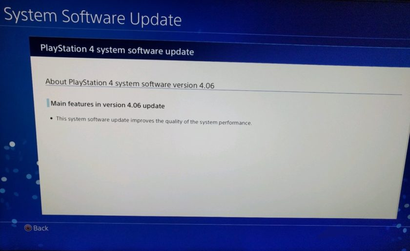 Playstation 4 Update 4.06