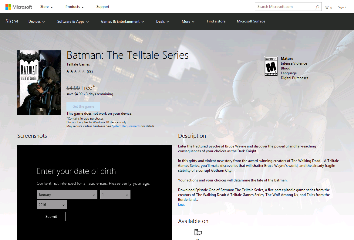 Batman: The Telltale Series PC Episode 1 Free On Microsoft Store For