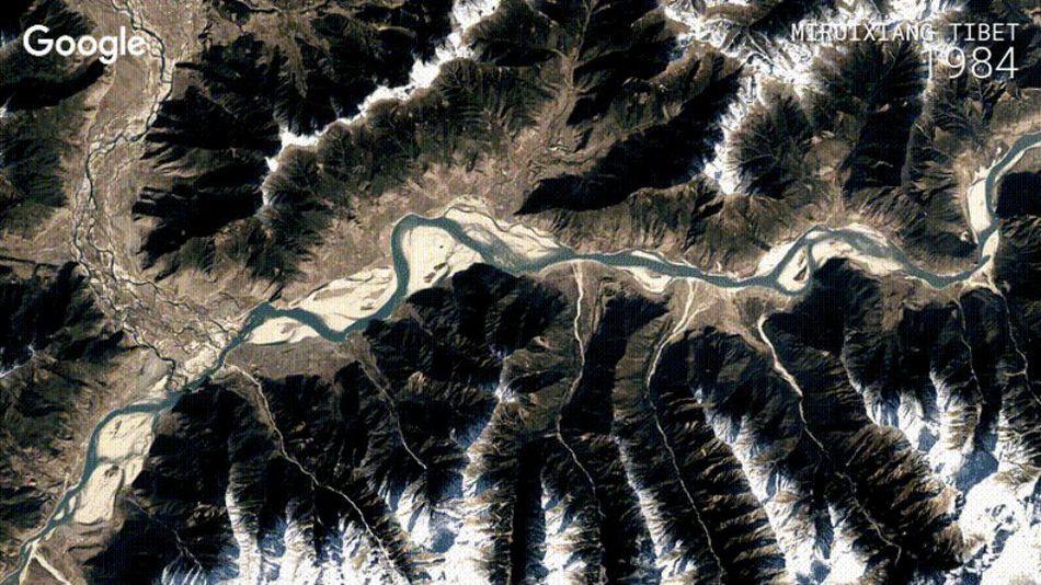 A stunning Google Earth image of Mirdixiang, Tibet.