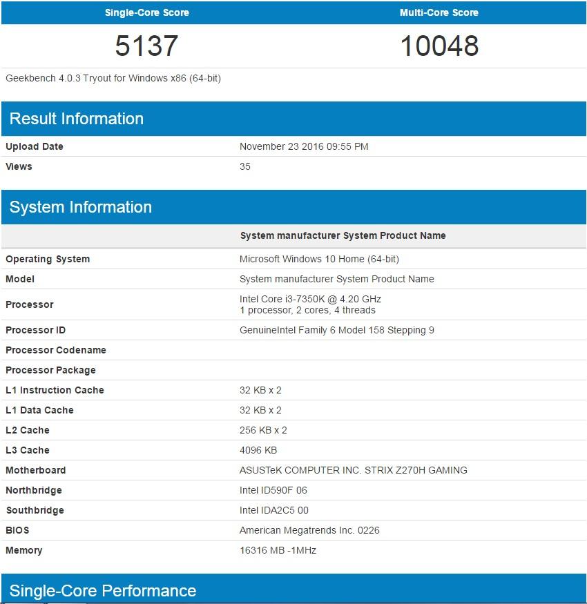 i3 7350K Benchmarks
