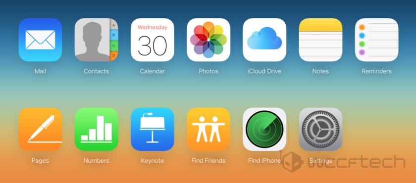iCloud website main