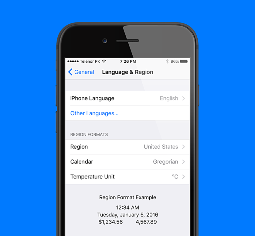 iOS Language and Region