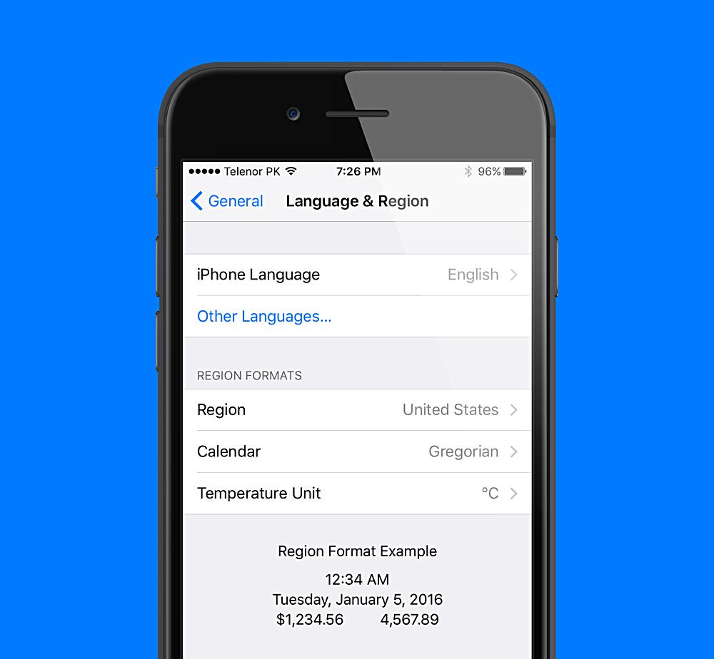 ios language and region