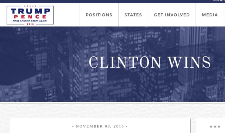 2016 US ELECTION TRUMP WEBSITE GLITCH