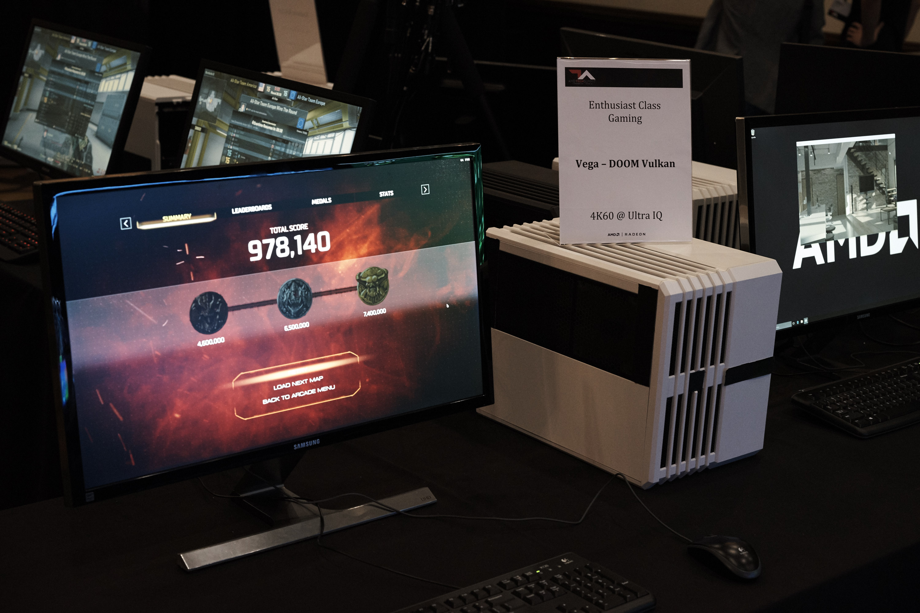 AMD Vega demo system, photo courtesy of pcgameshardware.de