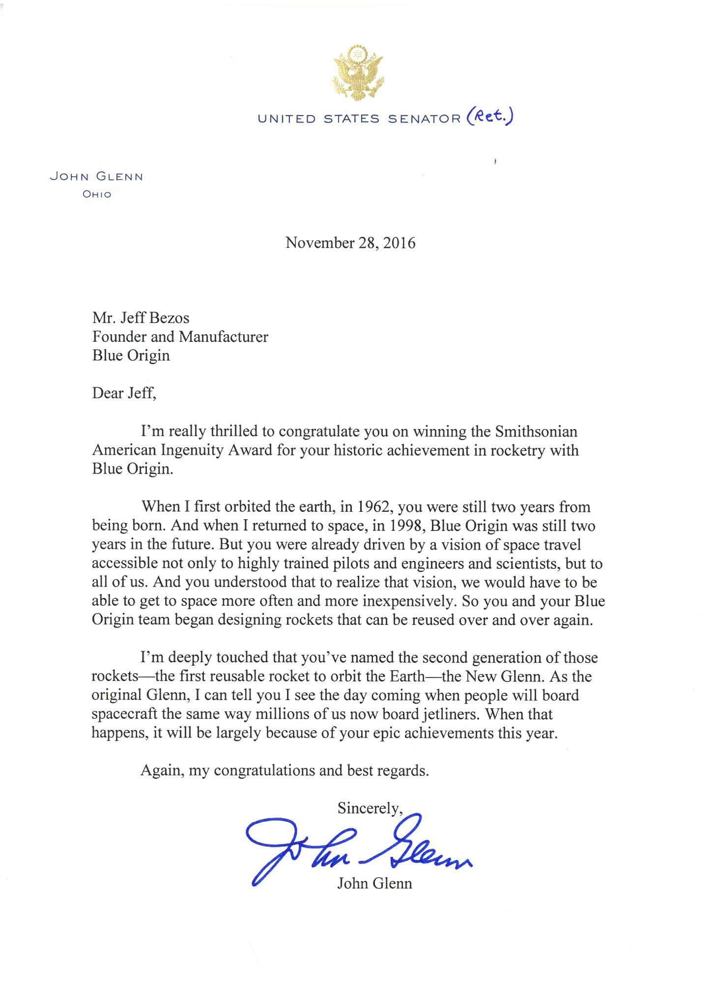 John Glenn wrote this letter to Bezos on the 28th of November and it was received on the night he passed away.