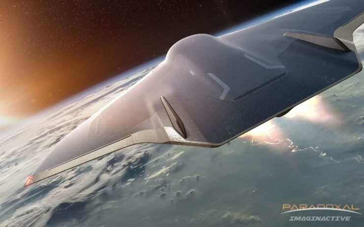 The Paradoxal concept jet, which would carry passengers along the edge of outer space before reentering the Earth's orbit for landing. All renderings courtesy of Juan Garcia Mansilla