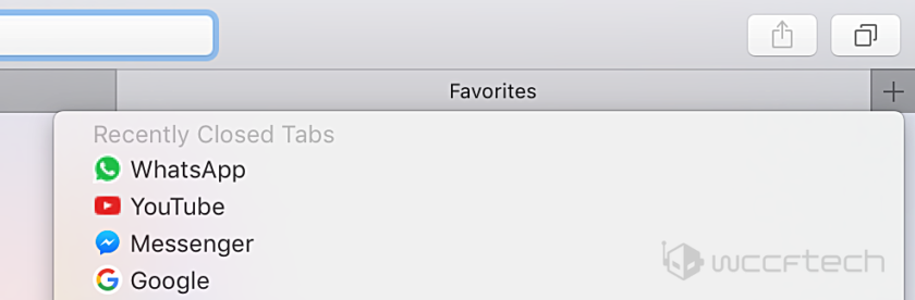 macOS Safari recently closed tabs