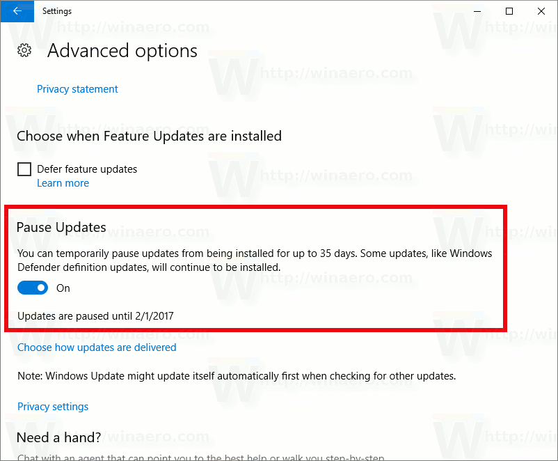 pause windows 10 updates