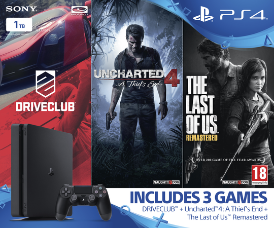 Amazing 1tb Ps4 Slim Triple Pack With Uncharted 4 The