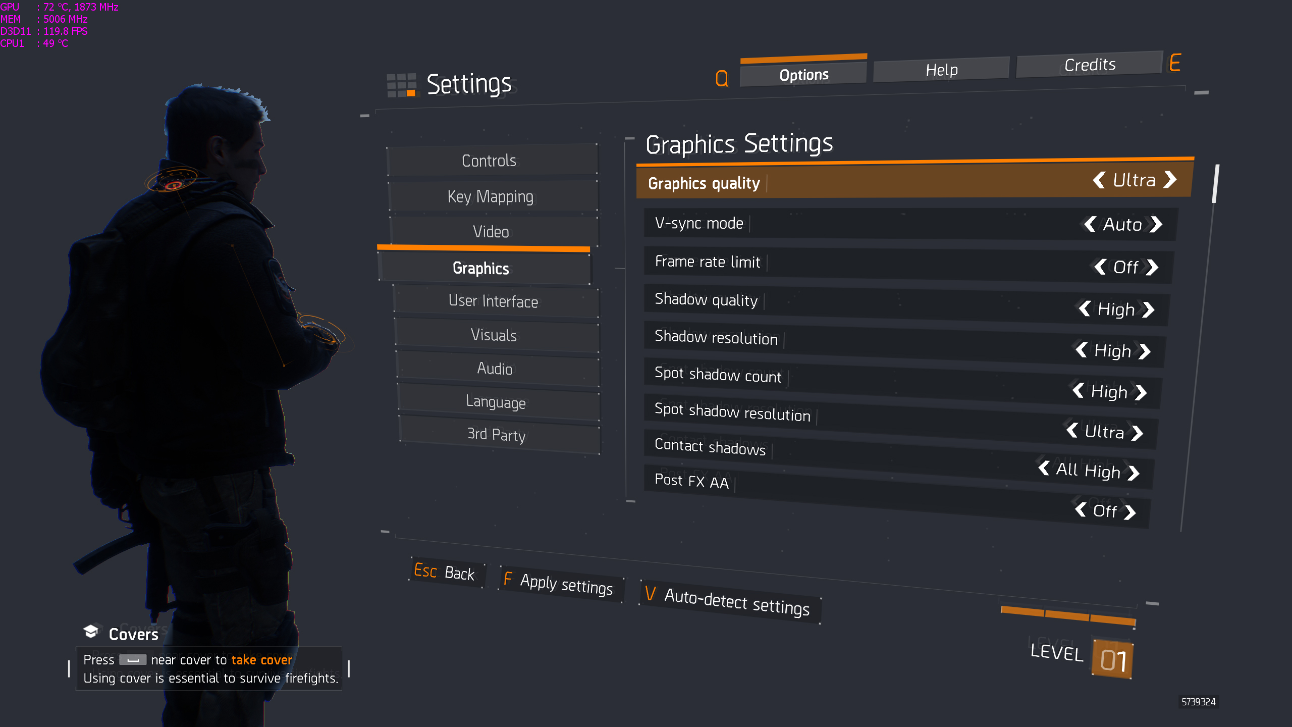 Set Graphic Options to ULTRA. No other custom settings.
