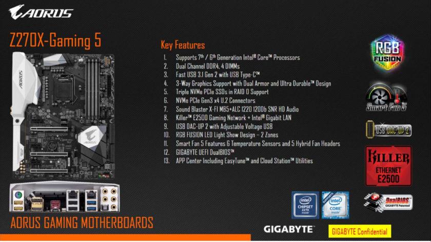 Gigabyte AORUS Z270X-Gaming 5 Motherboard