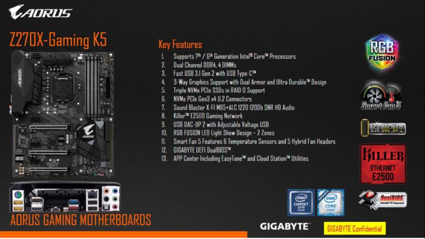Gigabyte AORUS Z270X-Gaming K5 Motherboard