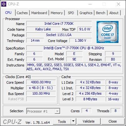 Intel Core i7-7700K CPUz_4.8 GHz