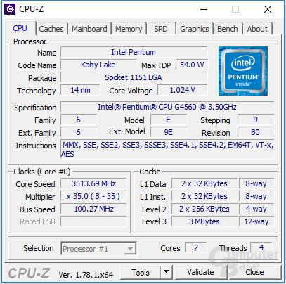 Intel Pentium G4560 CPU-Z